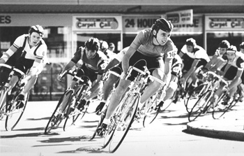 Leading the Redcliff City Criterium ...'84 or so