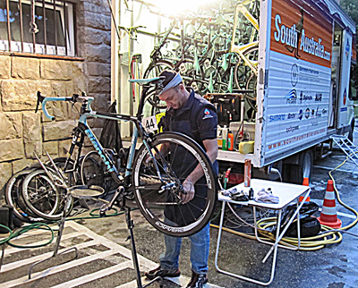 Darrell working on bikes in Slouvakia